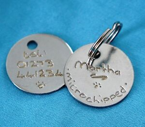 Tag ID Pet engraved both sides Hand + split rings dog