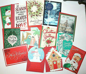 (10) Hallmark Christmas Greeting Cards Assorted Holiday With Envelopes Post Mail