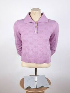 Women's Gucci Polo Crop Sweater Pink Size M GG Logo Lightweight Pullover $1250