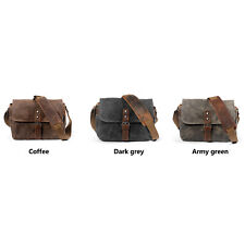 Vintage Waterproof Oil waxed Canvas Leather DSLR Ourdoor Camera Messenger Bag