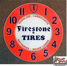 "18"" LARGE RD FIRESTONE TIRES SALES AND SERVICE GLASS CLOCK FACE GASOLINE OIL"