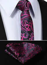 Mens Tie - Satin Black & Fuschia Pink - Wedding Floral Paisley Silk Free Hanky