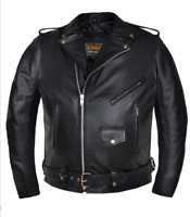 14.00 Unik Men's Classic BIG AND TALL Motorcycle Biker Leather Jacket