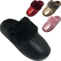 Ladies Shiny Glittery Slip On Warm Home Winter Fashion Womens Fur Trim Slippers