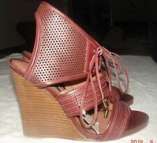 New DEREK LAM Made in Italy Leather LaceUp WedgeSandalShoeBootieBrown Sexy 7$675