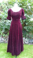 Original Vintage Victorian Edwardian Wine Velvet Dress Gown Adapted 1930 Small