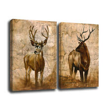 No Frame Home Decor Canvas 2 Panels  Elk Deer Animal Wall Art Canvas Prints
