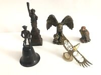 Lot Of 5 Vintage Statue of Liberty New York Brass Souvenirs 3 Eagles & 1776 Bell