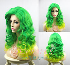 Popular Lady Gaga Green Yellow Mix Hair Curly Women Party Full Cosplay Wigs