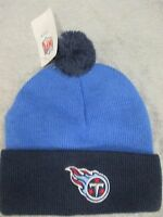 Tennessee Titans Youth Embroidered Knit Beanie Winter Hat Two Tone With Pom NFL