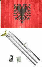 3x5 Albania Flag Aluminum Pole Kit Set 3'x5'