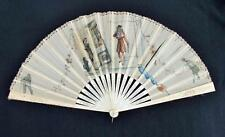 ANTIQUE VICTORIAN CARVED BONE (BOVINE) & PAINTED GAUZE FAN - FRENCH REVOLUTION