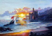 Print Art On Canvas/Cartoon/Mermaid Princess/Castle/Sailboat/children room decor