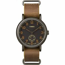 "Timex TW2P86800, ""Weekender"" Black Leather Strap Watch, Subdial"