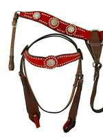 USED WESTERN HEADSTALL BREAST COLLAR RED BLING SHOW BARREL RACING PLEASURE TACK