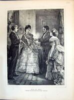 Old Antique Print 1871 Miss Or Mrs Lady Man Fan Romance Beautiful Dresses 19th