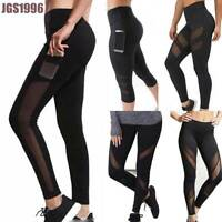 Women Sports Mesh YOGA Pants Workout Gym Fitness Run Leggings Jumpsuit Athletic