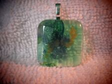 Fused Dichroic Glass Pendant Necklace-Transparent Green and Orange Mix #279