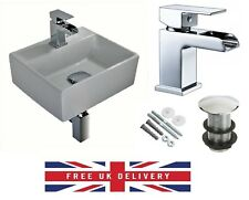 COMPACT SMALL CLOAKROOM SQUARE BASIN SINK WALL HUNG + FREE WATERFALL TAP & WASTE