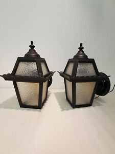 Vintage Pair Gothic Tudor Storybook Porch Light Fixture Outdoor Sconce Wall
