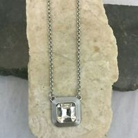 Vintage Lia Sophia Silver Tone Large Square Faceted Crystal Pendant Necklace