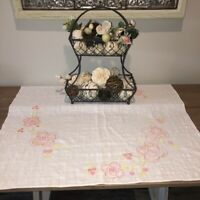 "Vintage Embroidered Linen Tablecloth 36"" by 28"" Pink Roses on White Cottage"