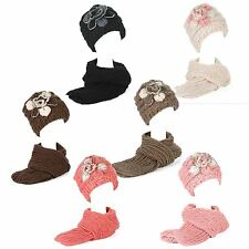 Ladies Winter Chunky Rib Knitted Beanie Hat with Fleece Lining & Scarf Set