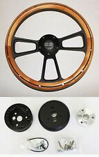 "60-69 Chevy Truck C10 C20 Steering Wheel Alder Wood with Black Spokes 14"" SS Cap"