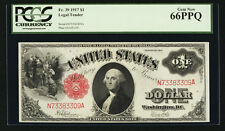 U.S.  1917  $1 LEGAL TENDER BANKNOTE, UNCIRCULATED, FR-39, CERTIFIED PCGS 66-PPQ