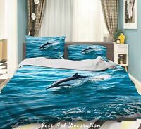 3D Blue Ocean Dolphin Quilt Cover Sets Pillowcases Duvet Comforter Cover