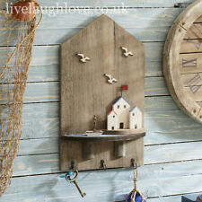 Coastal Scene Natural Wooden Wall Plaque W/ 3 Hooks