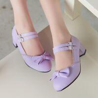 Womens Girl Cute Ankle Strap Buckle Belt Bowknot Mid Block Heels Shoes Size 8