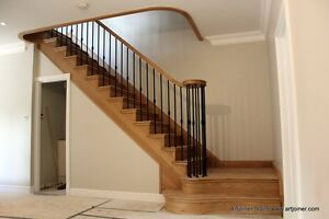 Oak timber grand staircase,with metal spindles (price for one tread and riser)