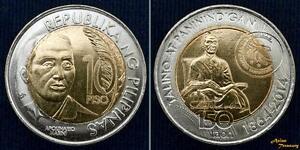 2014 PHILIPPINES 10 PESO APOLINARIO MABINI UNC BI-METALLIC KM#288 UNC COIN