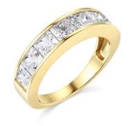 3.50 Ct Princess Real 14k Yellow Gold Engagement Wedding Anniversary Band Ring