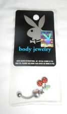 Playboy Body Jewelry Pink/Black with White Bunny Belly Ring Stainless Steel