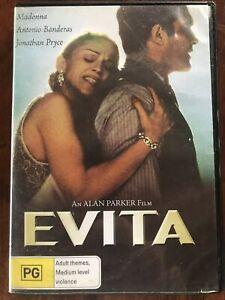 EVITA ( DVD REGION 4 ) MADONNA , ANTONIO BANDERAS