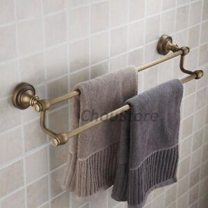 Wall Mounted Antique Bronze Bathroom Double Rail Towel Rack Clothes Hanger Hooks