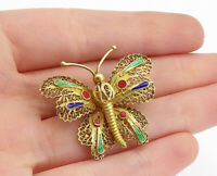 925 Sterling Silver - Vintage Gold Plated Filigree Butterfly Brooch Pin - BP1504