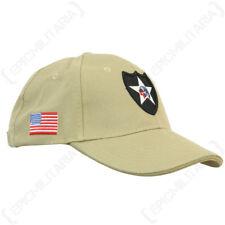 Khaki US 2nd Infantry Baseball Cap - Cotton Peak Sun Hat Military Army Mens New