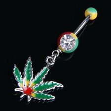 Jamaican Pot Leaf Dangle Crystal Navel Belly Ring Bar HY