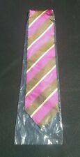 Mens Silk Tie Brown Pink/Purple Gold Daigonal Strpie Pattern NWOT
