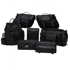 YAMAHA MOTORCYCLE - 9 Pcs 100% GENUINE LEATHER BIKE SADDLEBAGS BARREL BAG SET