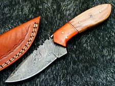"""Hunting Knife - Full Tang Damascus Steel Blade- 8"""" - OLIVE WOOD HANDLE - WD-1117"""