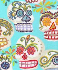Alexander Henry Gothic Calaveras Skulls on Aqua Cotton Fabric - FQ