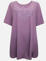 Catherines t-shirt top plus size 20/22 24/26 28/30 32/34 36/38 lilac embroidered