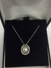 14kt White Gold Pearl (7mm)  And Diamond Pendant Necklace
