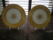 SET 8 antiq COALPORT, ENGLAND china dinner plates CIRCA 1890'S, GOLD neoclassic