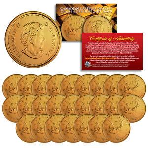 2005 Canadian Caribou Quarter UNC Queen Elizabeth II 24K GOLD Plated - QTY 25