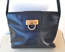 Salvatore Ferragamo Rare Vintage Full-grain Leather Handbag Shoulder Bag Italy